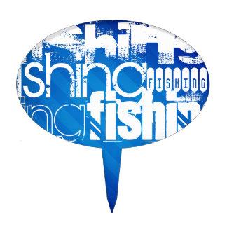 Pesca; Rayas azules reales Figura De Tarta