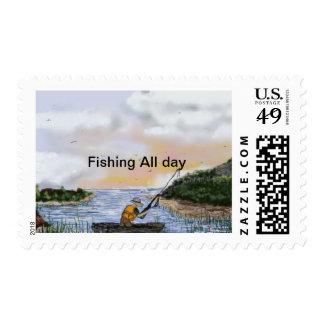 Pesca todo el día por Rena Estampillas