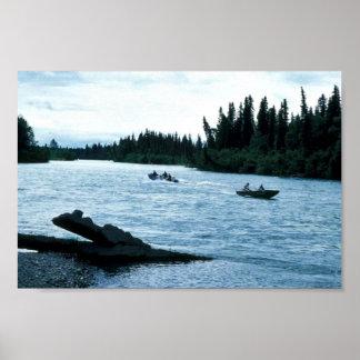 Pesca y canotaje en el río de Kenai Póster