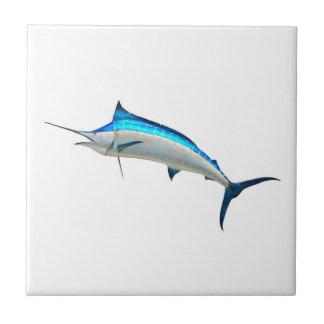 Pescado de la aguja azul azulejo cuadrado pequeño