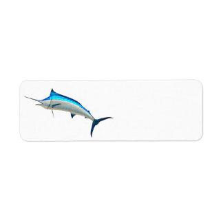 Pescado de la aguja azul etiquetas de remite