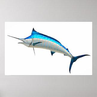 Pescado de la aguja azul póster