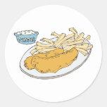 pescado frito con patatas fritas etiqueta redonda
