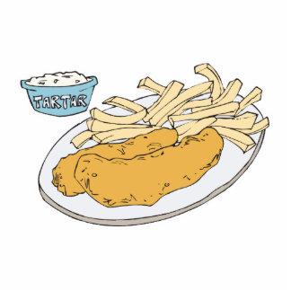 pescado frito con patatas fritas fotoescultura vertical