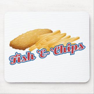 Pescado frito con patatas fritas mousepad