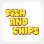 pescado frito con patatas fritas pegatinas cuadradas personalizadas
