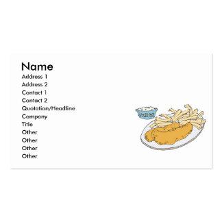 pescado frito con patatas fritas tarjetas de visita
