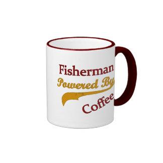 Pescador accionado por el café taza a dos colores