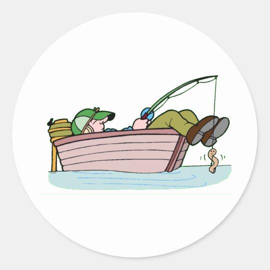 Pescador ávido pegatina redonda