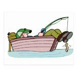 Pescador ávido tarjeta postal