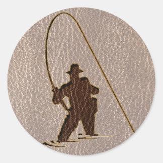 Pescador de la Cuero-Mirada suave Pegatina Redonda