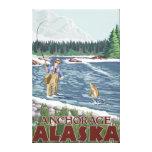 Pescador de la mosca - Anchorage, Alaska Impresiones De Lienzo