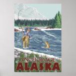 Pescador de la mosca - Anchorage, Alaska Poster