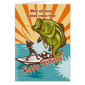 Pescador de la mosca en perca americana de cogida  tarjeta de felicitación