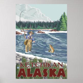 Pescador de la mosca - Ketchikan, Alaska Póster