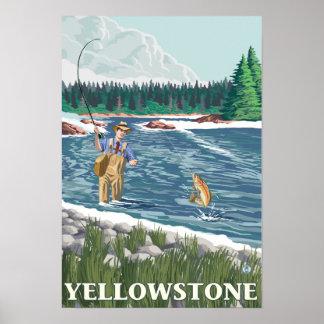 Pescador de la mosca - parque nacional de Yellowst Póster