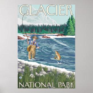 Pescador de la mosca - Parque Nacional Glacier, TA Póster