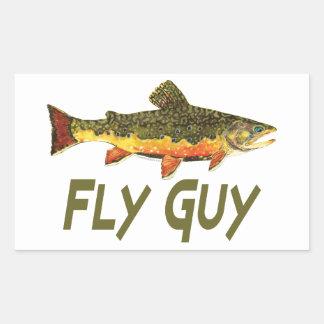 Pescador de la mosca pegatina rectangular