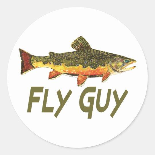 Pescador de la mosca pegatina redonda