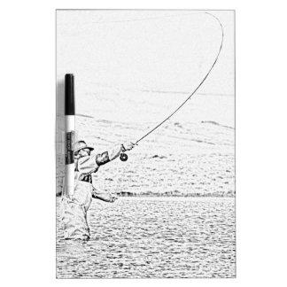 pescador de la mosca pizarra blanca