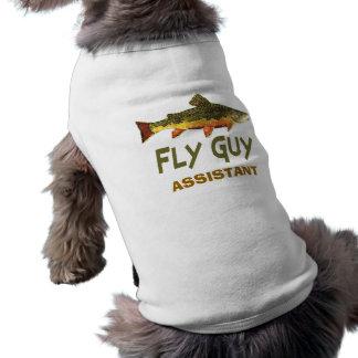 Pescador de la mosca playera sin mangas para perro