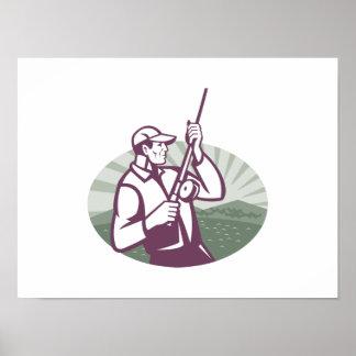 Pescador de la mosca que pesca el grabar en madera póster