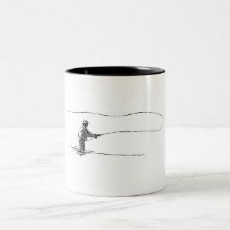 Pescador de la mosca taza de dos tonos