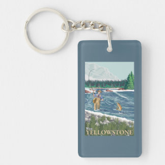 Pescador de la mosca - Yellowstone del oeste, Llavero Rectangular Acrílico A Doble Cara