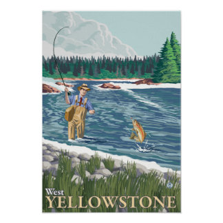 Pescador de la mosca - Yellowstone del oeste, Mont Póster