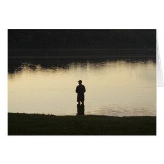 pescador de la puesta del sol tarjeta pequeña