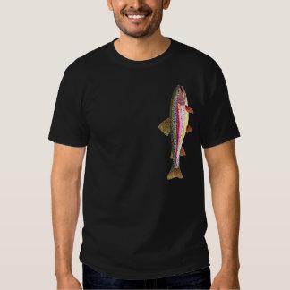 Pescador de la trucha arco iris playera