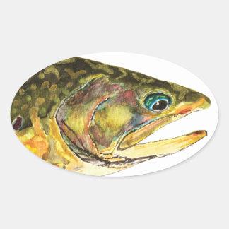 Pescador de la trucha de arroyo calcomanía óval