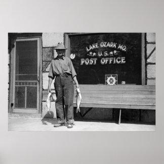 Pescador de Ozark del lago, los años 30 Posters