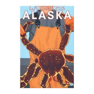 Pescador de rey cangrejo - Latouche, Alaska Lona Envuelta Para Galerías