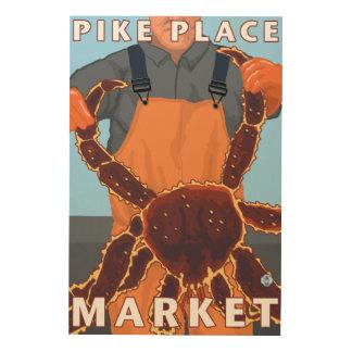 Pescador de rey cangrejo - mercado de lugar de cuadros de madera