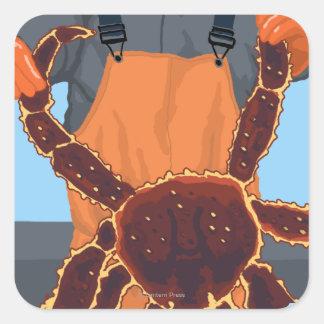 Pescador de rey cangrejo - mercado de lugar de pegatina cuadrada