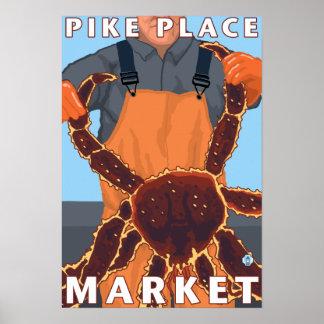 Pescador de rey cangrejo - mercado de lugar de Pik Póster