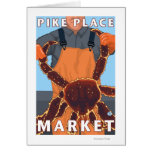 Pescador de rey cangrejo - mercado de lugar de Pik Tarjeta De Felicitación