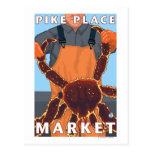 Pescador de rey cangrejo - mercado de lugar de tarjeta postal