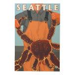 Pescador de rey cangrejo - Seattle, Washington Cuadro De Madera