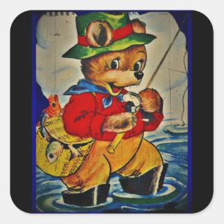 Pescador de Teddybear del vintage Pegatina Cuadrada
