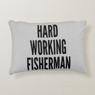 Pescador de trabajo duro cojín decorativo