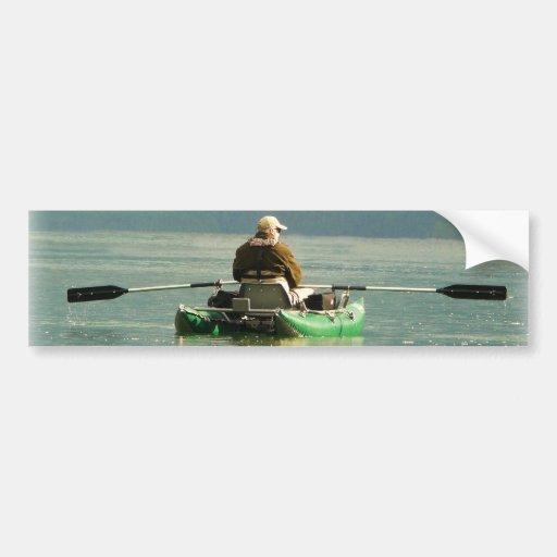 Pescador en barco el pontón pegatina para auto