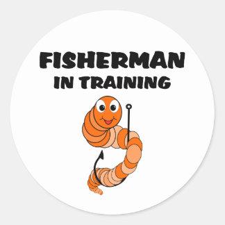 Pescador en el entrenamiento pegatina redonda