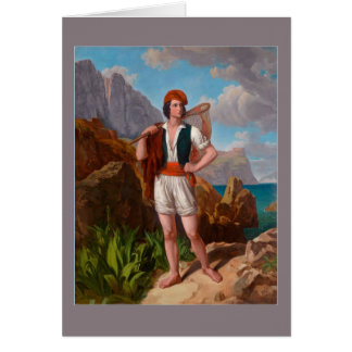 Pescador en la costa de Amalfi de Ebert Tarjeta De Felicitación