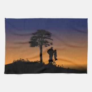 Pescador en la oscuridad toallas