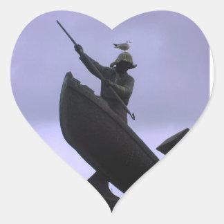 Pescador extremo pegatina corazón personalizadas