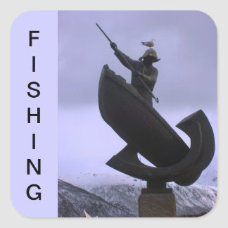 Pescador extremo calcomanias cuadradas