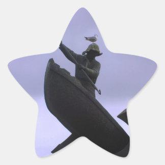Pescador extremo calcomania cuadrada personalizada