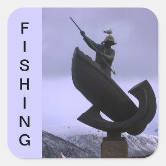 Pescador extremo pegatina cuadrada